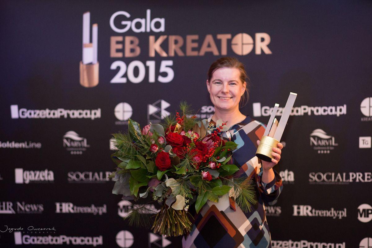 Zwycięzca w kategorii Ogłoszenie Rekrutacyjne - na zdjęciu Agata Landzwójczak z STXnext, Gala EB Kreatory 2015