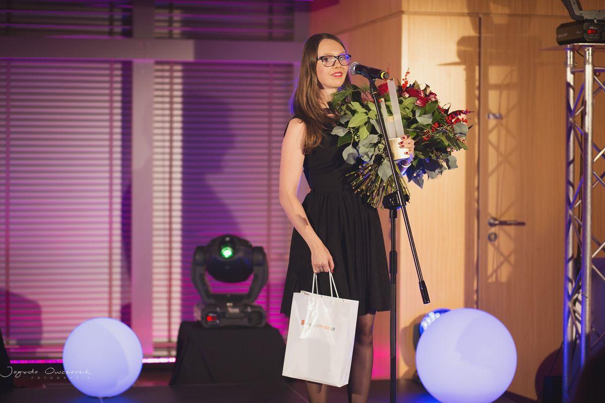Zwycięzca w kategorii Zakładka Kariera EB Kreator 2015 - na zdjęciu Marcelina Szostak z Clearcode.pl, Gala EB Kreatory 2015